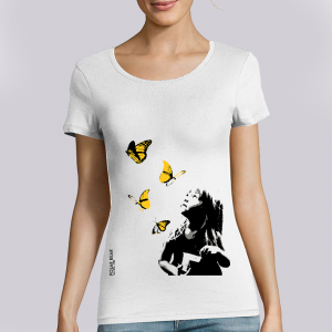 T-shirt femme Polar Bear : Kid and Butterflies big
