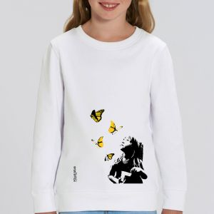 Sweat enfant Polar Bear : Kid and Butterflies big