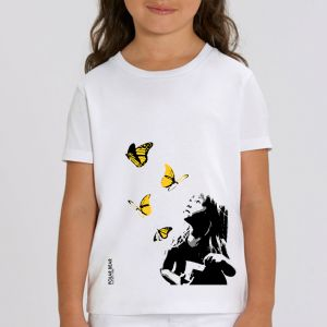 T-shirt enfant Polar Bear : Kid and Butterflies big