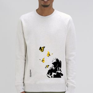 Sweat Homme Polar Bear : Kid and Butterflies big
